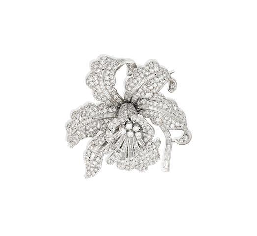 A diamond flower brooch, circa 1950
