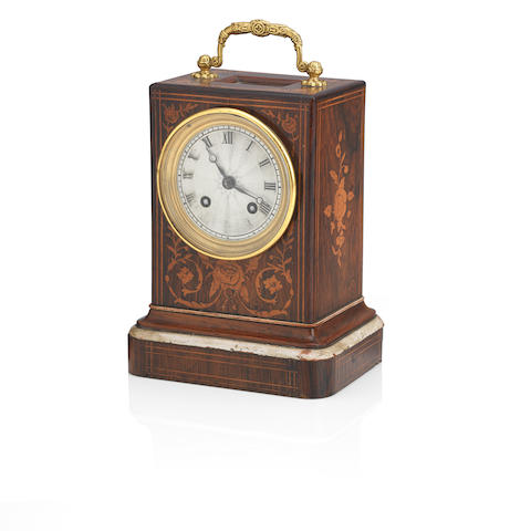 An early 19th century Rosewood and marquetry inlaid cased mantle clock The movement stamped 'C Leblanc Paris'