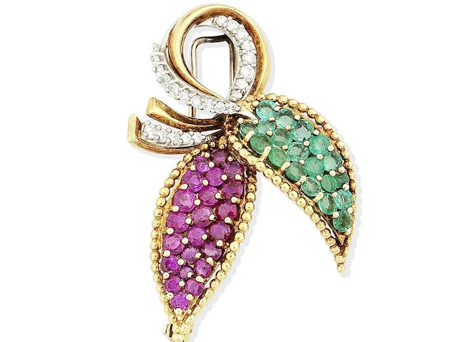 A ruby, emerald and diamond brooch, by Kutchinsky,