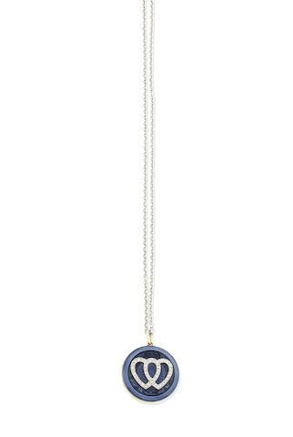 An enamel and diamond locket pendant necklace, circa 1915