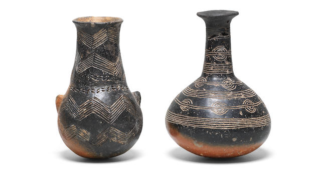 Two Cypriot red and black polished ware bottles  2