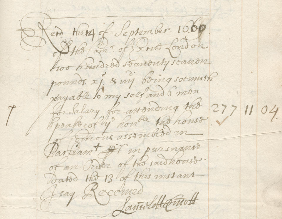 """BANKING AND GOVERNMENT – EDWARD BACKWELL Banking ledger kept in person by Edward Backwell, containing well over six hundred original acquittances for payments received, over forty of which are signed by him (""""per me Edward Backwell""""), kept in one volume and two loose gatherings, Excise Office, London, 18 August 1660 to 16 March 1661"""