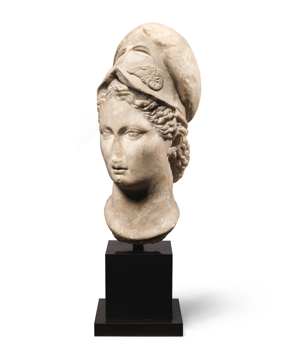 A Roman marble head of Minerva