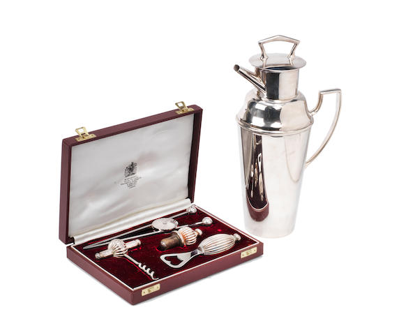 A cocktail pourer and cased set of cocktail accessories, by Asprey of London,  ((2))