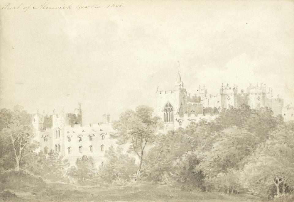 Lady Susan Elizabeth Percy (English, 1782-1847), and Lady Julia Percy Seven sketchbooks, including views of Alnwick Castle and its environs, Warkworth Castle, Kew Palace, Clifton, Lindisfarne and figure studies largest 17.5 x 28.5cm (6 7/8 x 11 1/4in).(7)