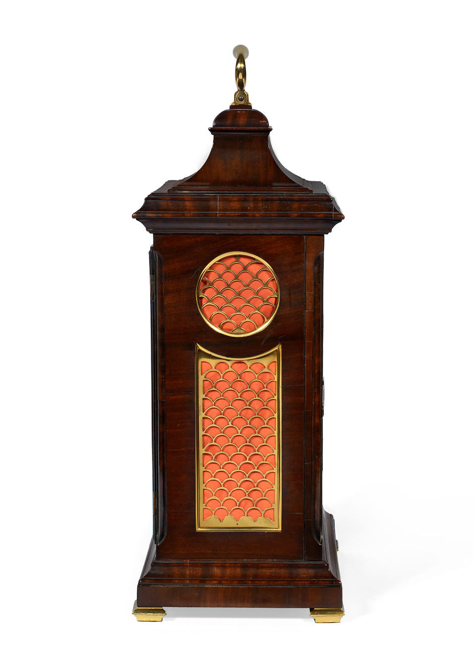 A George III mahogany and brass mounted quarter chiming bracket clock with pull repeat, of naval interest the dial signed Richard Smith, Newport (Isle of Wight), and 'Renovated by Grohe, Wigmore St, London'