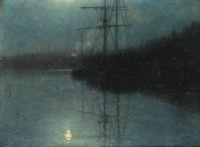 William Edward Norton (American, 1843-1916) The harbour by moonlight