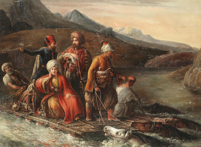 Circle of August Theodor Schoefft (Hungarian, 1809-1888) Crossing the Tigris