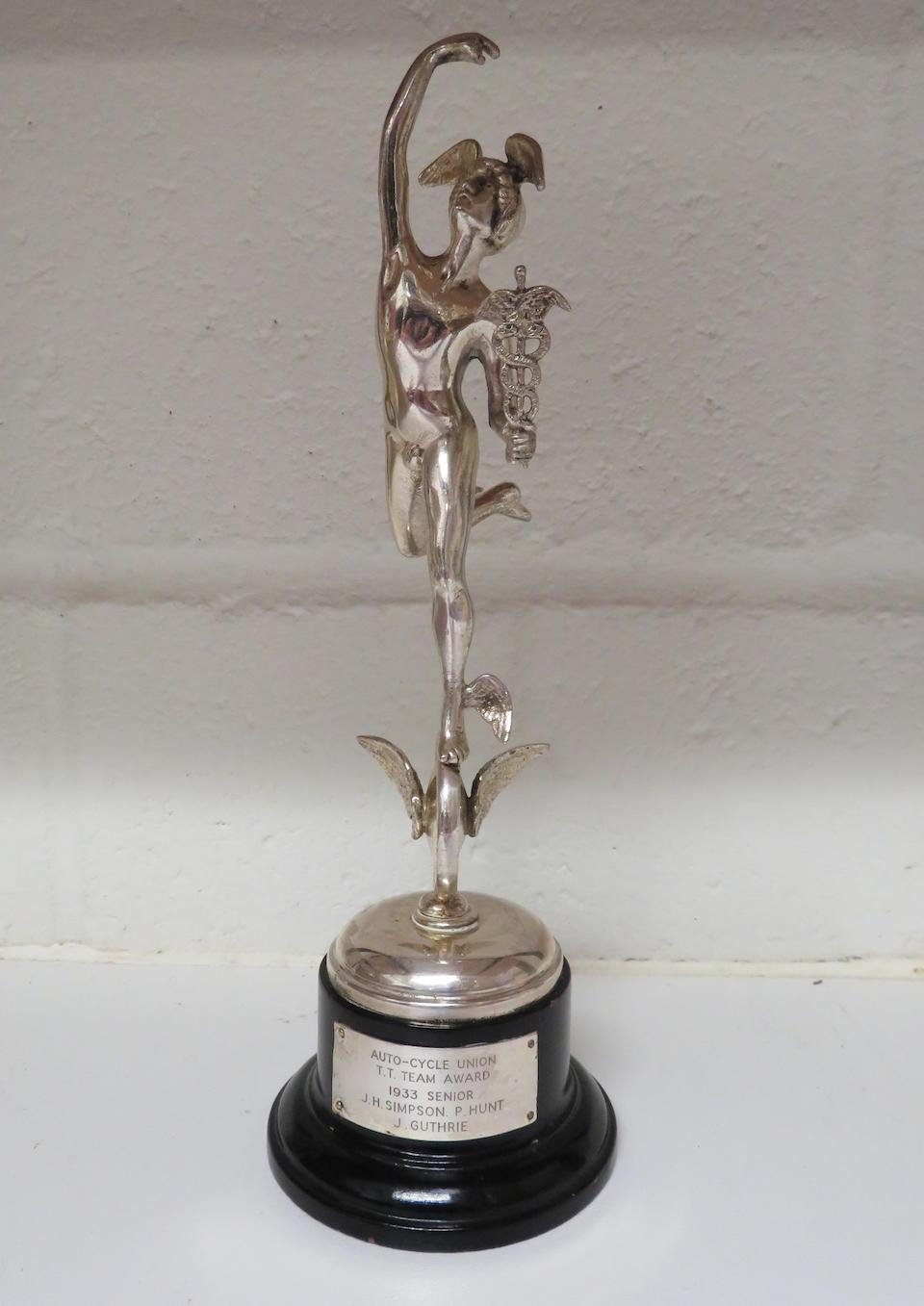 An Isle of Man TT Silver Replica Trophy, 1933 Senior T.T. Team Award