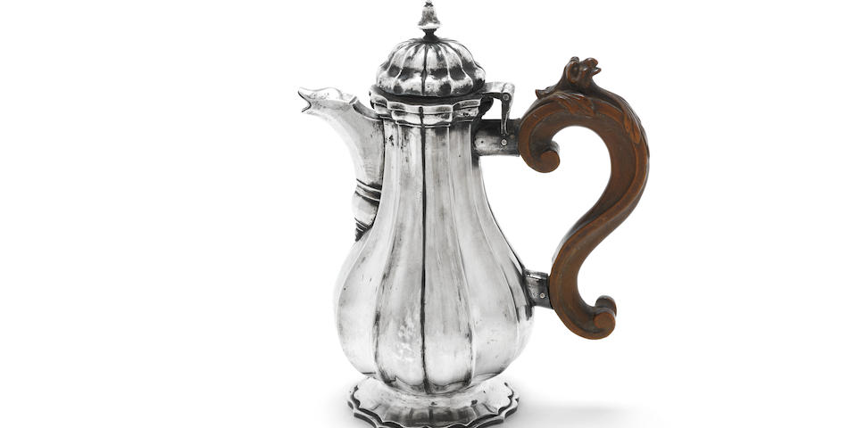 An 18th century Italian silver coffee pot Venice, with countersign mark of Zuanne Cottini