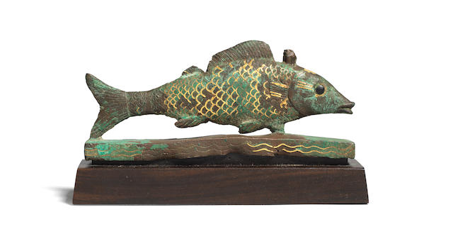 An Egyptian bronze and gold Oxyrhynchus fish