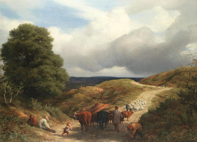 William Linnell (British, 1826-1906) Undulating landscape with livestock being driven along a path