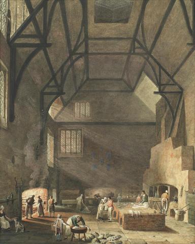 William Henry Pyne (British, 1769-1843) The kitchen of Trinity College, Cambridge, circa 1800
