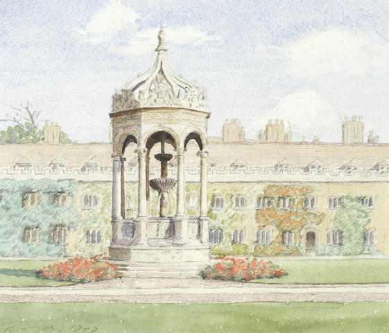 Anthony Day (British, 20th Century) Trinity College fountain, Cambridge
