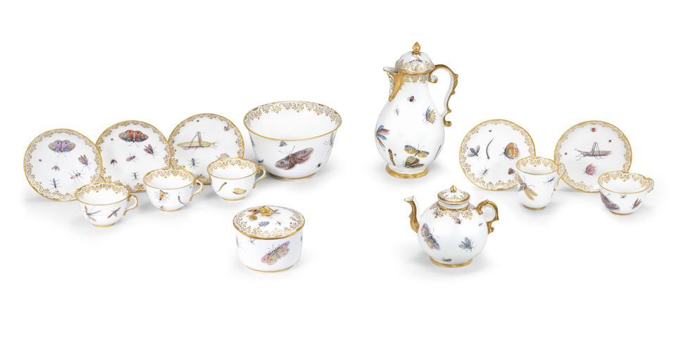 An exceptional Capodimonte porcelain tea and coffee service, circa 1750