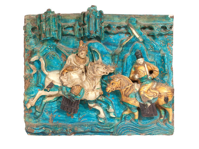 A large sancai-glazed relief decorated pottery plaque Ming dynasty