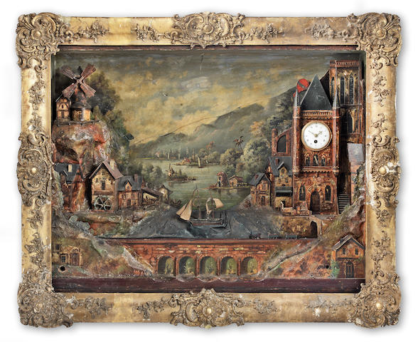 An impressive late 19th century Continental composition and painted automaton musical picture clock probably German or Swiss