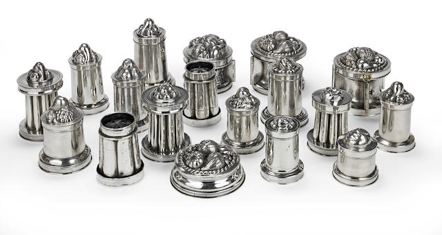 A collection of eighteen 19th Century polished pewter dessert or confectionary moulds two possibly of an earlier date (18)