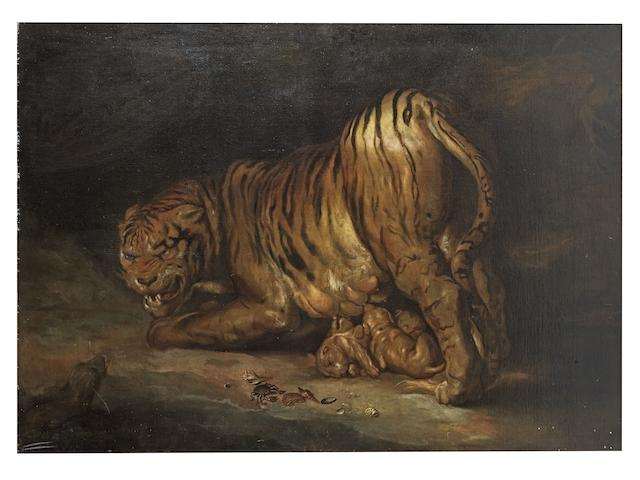Studio of Johann Georg de Hamilton (Austrian, 1672-1737) A tiger and a lion; and A tigress and her cubs threatened by a snake ((2))