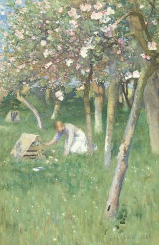 Sir George Clausen, RA, RWS (British, 1852-1944) An orchard in May