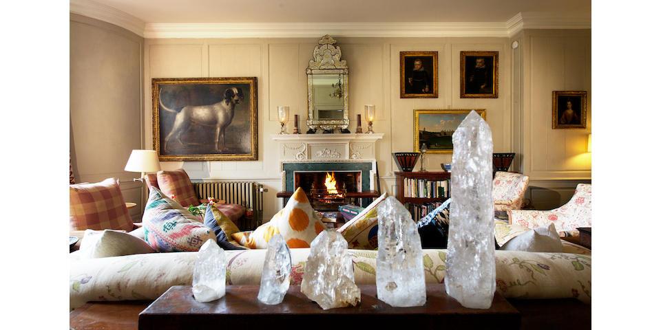 A large display of rock crystal specimens