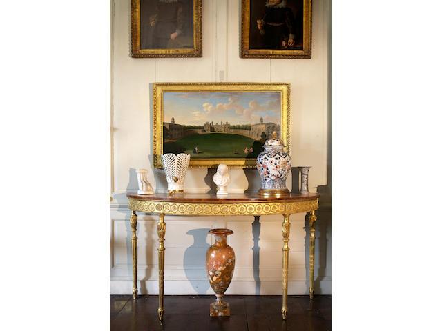 George III satinwood, giltwood and gesso pier table
