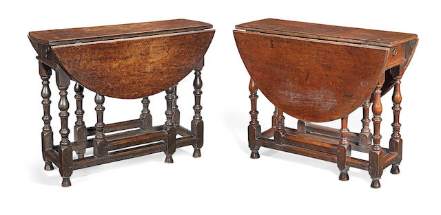 Two William & Mary joined oak gateleg occasional tables, a near pair, circa 1690  (2)