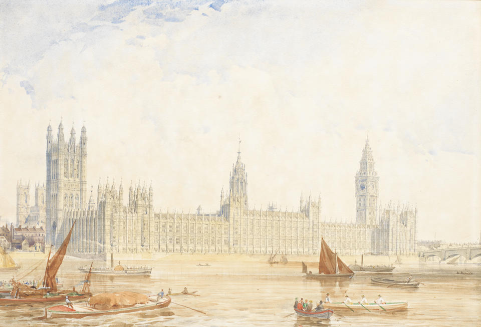 Edmund Walker (British, 1814-1882) The Quadrant, Regent Street; The Treasury, Whitehall; Greenwich Hospital; General Post Office, St. Martin le Grand; Westminster Abbey each 30.5 x 41cm (12 x 16 1/8in.) (together with a lithograph of The New Houses of Parliament, with additions in watercolour. (6))