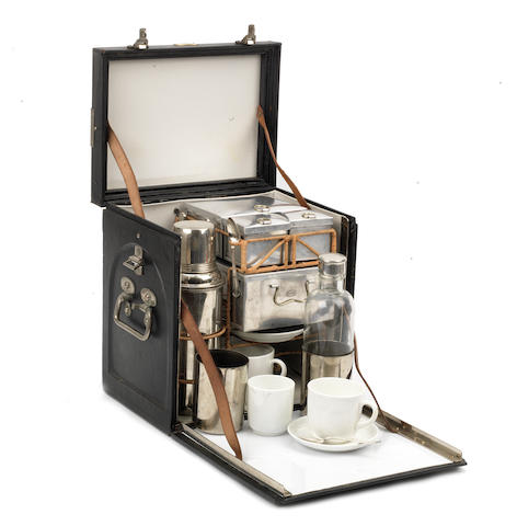 A cased 'En Route' drinks set for two persons by Drew & Sons of Piccadilly, circa 1909,   ((2))