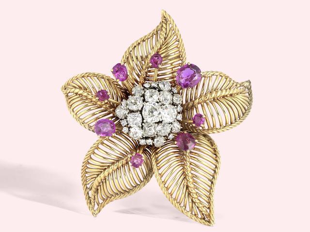 A pink sapphire and diamond brooch, by Michael Gosschalk,