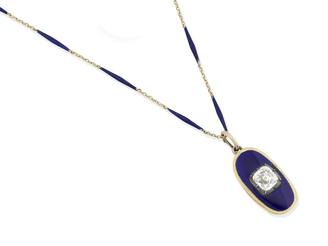 An enamel and diamond memorial pendant,
