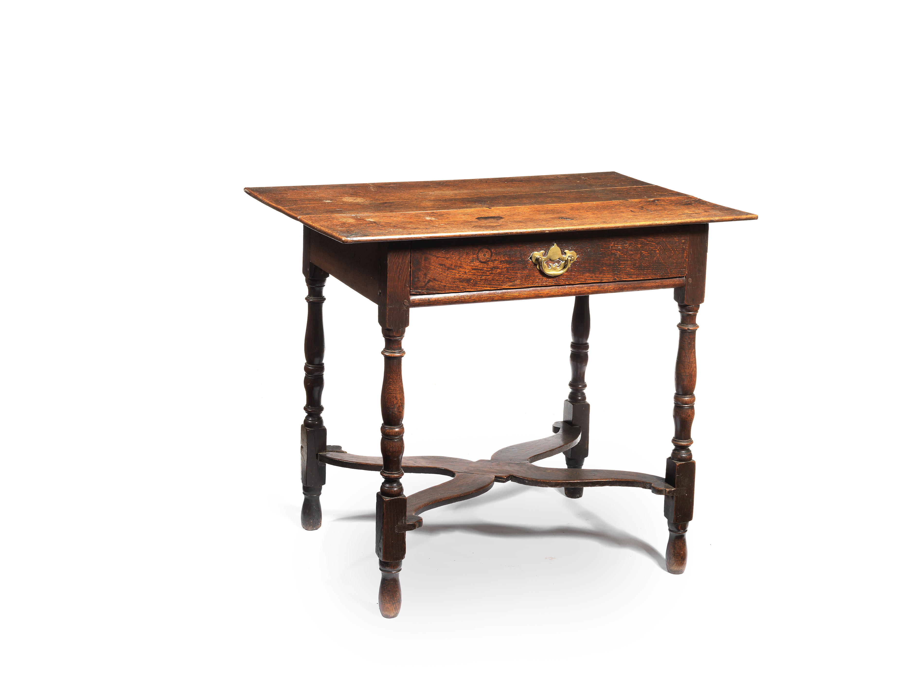 A joined oak side table, English, circa 1700