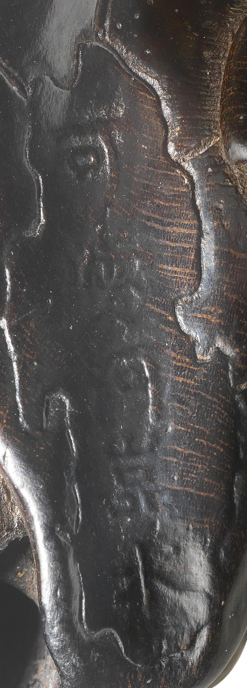 A kurogaki (black persimmon) wood netsuke of a Buddha's hand citron By Seiyodo Gansui (1809-1848), early 19th century