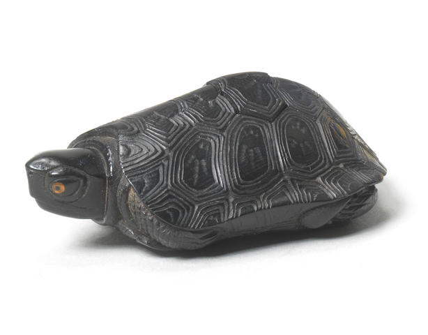 An ebony netsuke of a tortoise By Seiyodo Tomiharu (1733-1810), Iwami Province, 1796-7