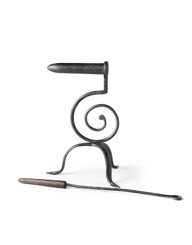 A wrought iron goffering iron, with poker, circa 1800  (2)