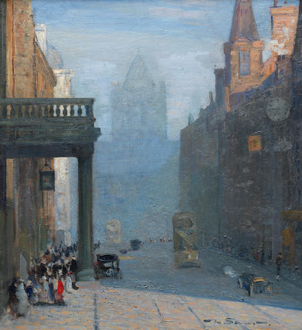Mark Senior (British, 1864-1927) A view up Park Row towards St Anne's Cathedral, Leeds