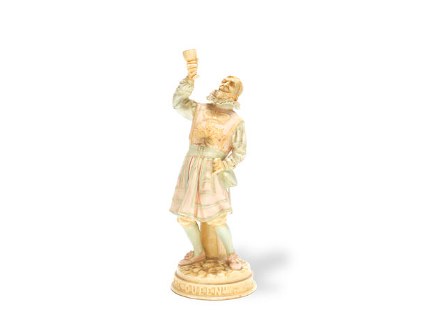 'Beefeater Toasting the Queen': A Vellum Figure by Royal Doulton lion and crown mark, signed 'NOKE' to base, first issued 1899