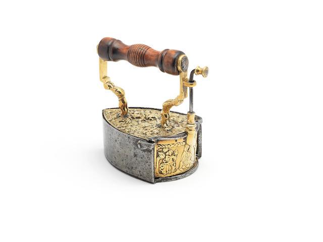 A rare and impressive brass and iron box iron, Scandinavian, circa 1720  (2)