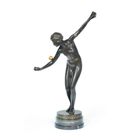A Large Patinated Bronze Figure of a Nude Female  unsigned, circa 1910