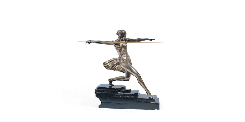 'Antiope': An Art Deco Silvered Art Metal Figure Cast From a Model by Fayral (Pierre Le Faguays) foundry mark and signed in the cast, 20th century