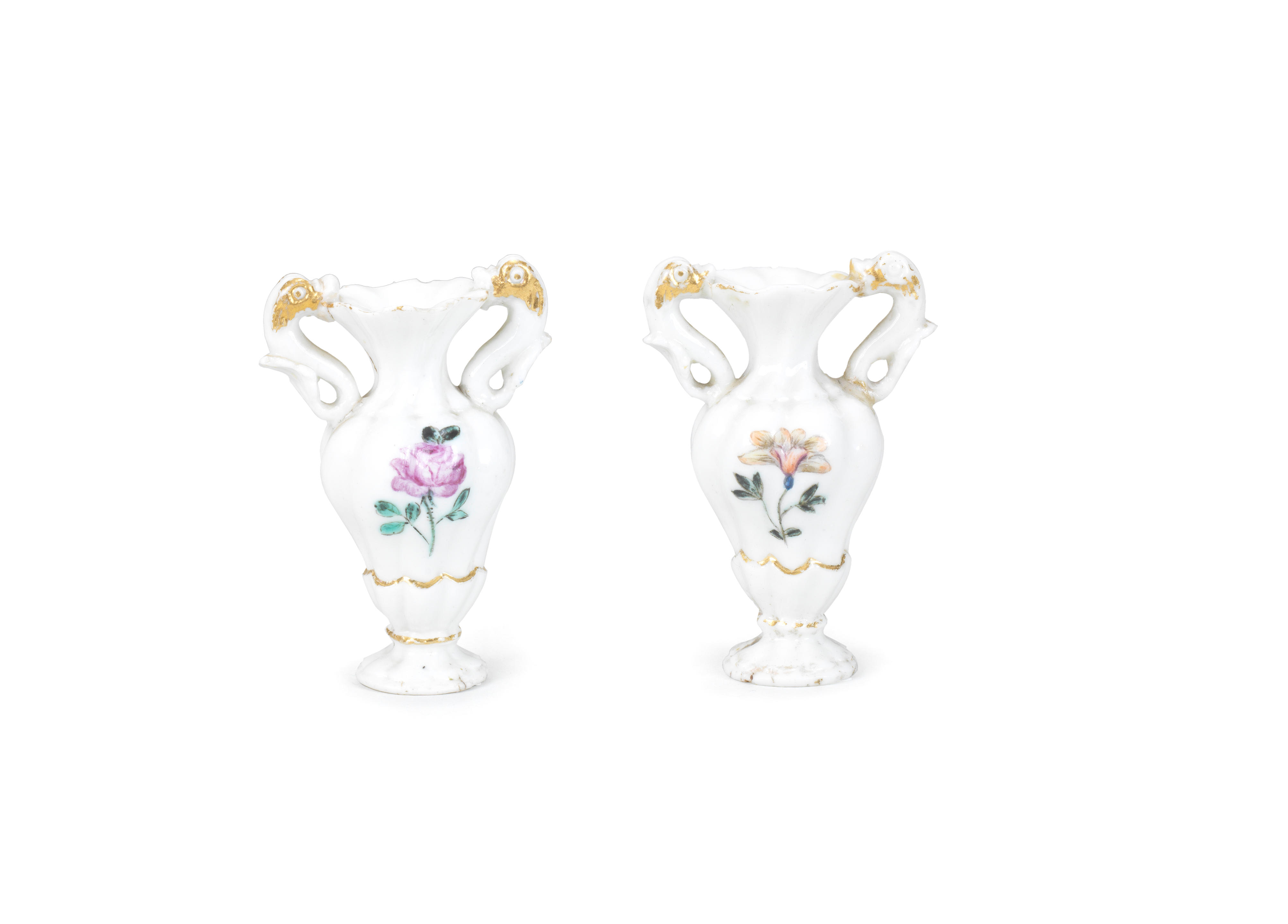 Two Capodimonte miniature vases