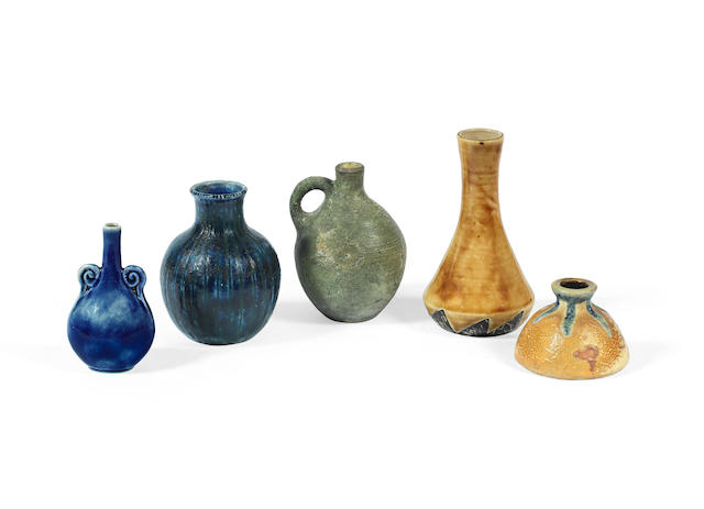 Four Small Vases and a Jug by the Martin Brothers all incised with makers marks