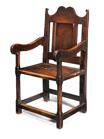 A William & Mary joined oak open panel-back armchair, Welsh, circa 1690