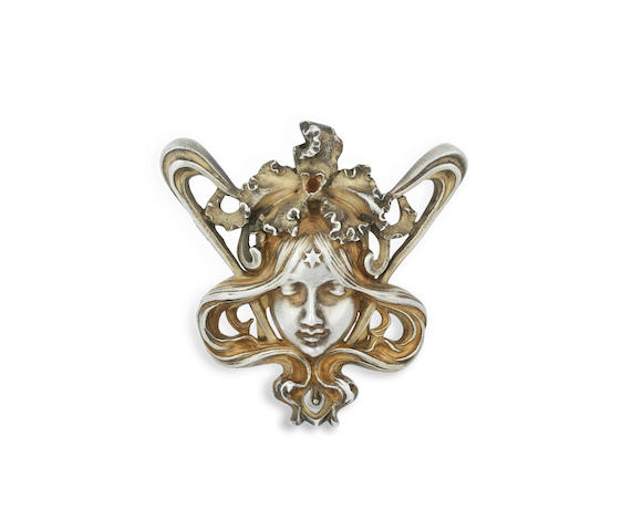 An French Art Nouveau Gilt Silver Buckle by Janvier Querica  STAMPED 'JQ' AND MINERVA MARK, CIRCA 1900