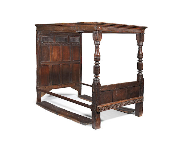 A Charles I joined oak tester bed, circa 1640 and later