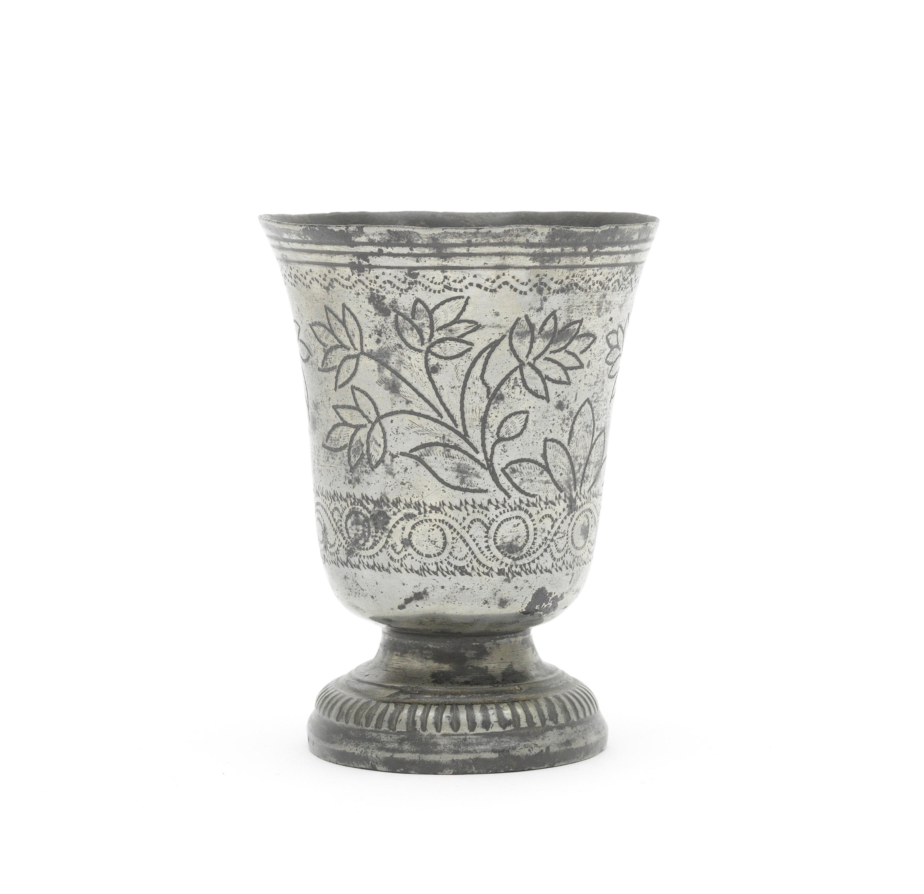 A pewter wriggle-work footed-cup, Dutch, circa 1710
