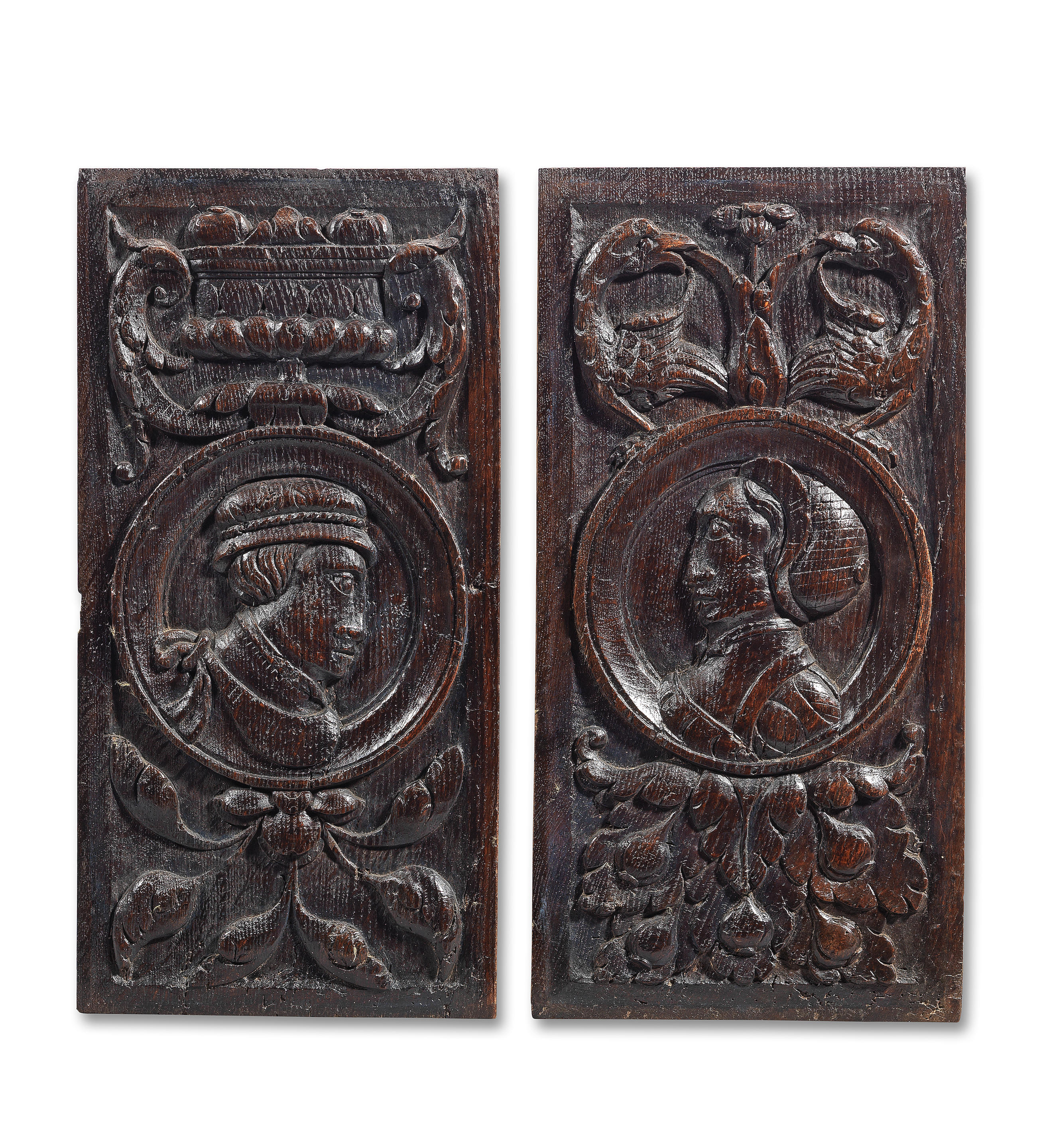 A pair of carved oak panels, French/English, circa 1550