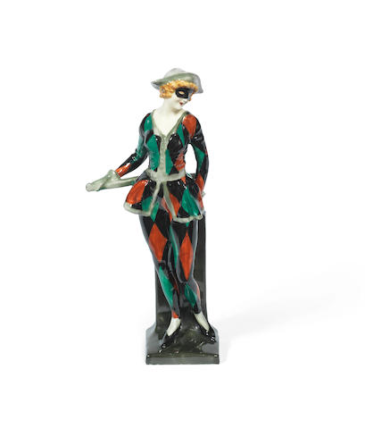 'Harlequinade Masked': A Figure by Royal Doulton maker's marks, issued 1925-38
