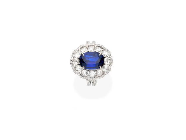 A sapphire and diamond cluster ring, Paul Bram