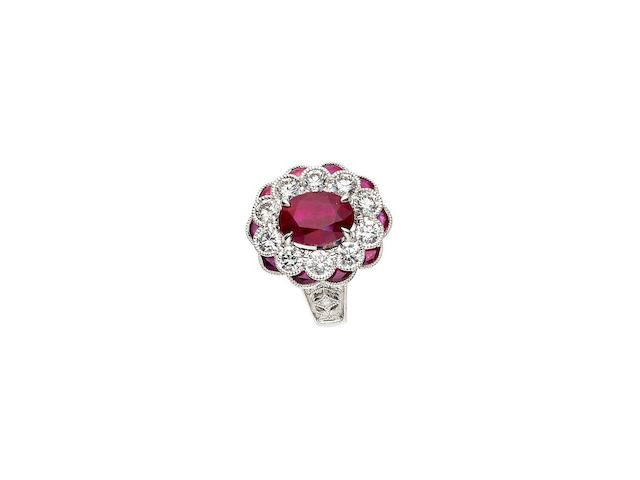 A ruby and diamond cluster ring, Paul Bram